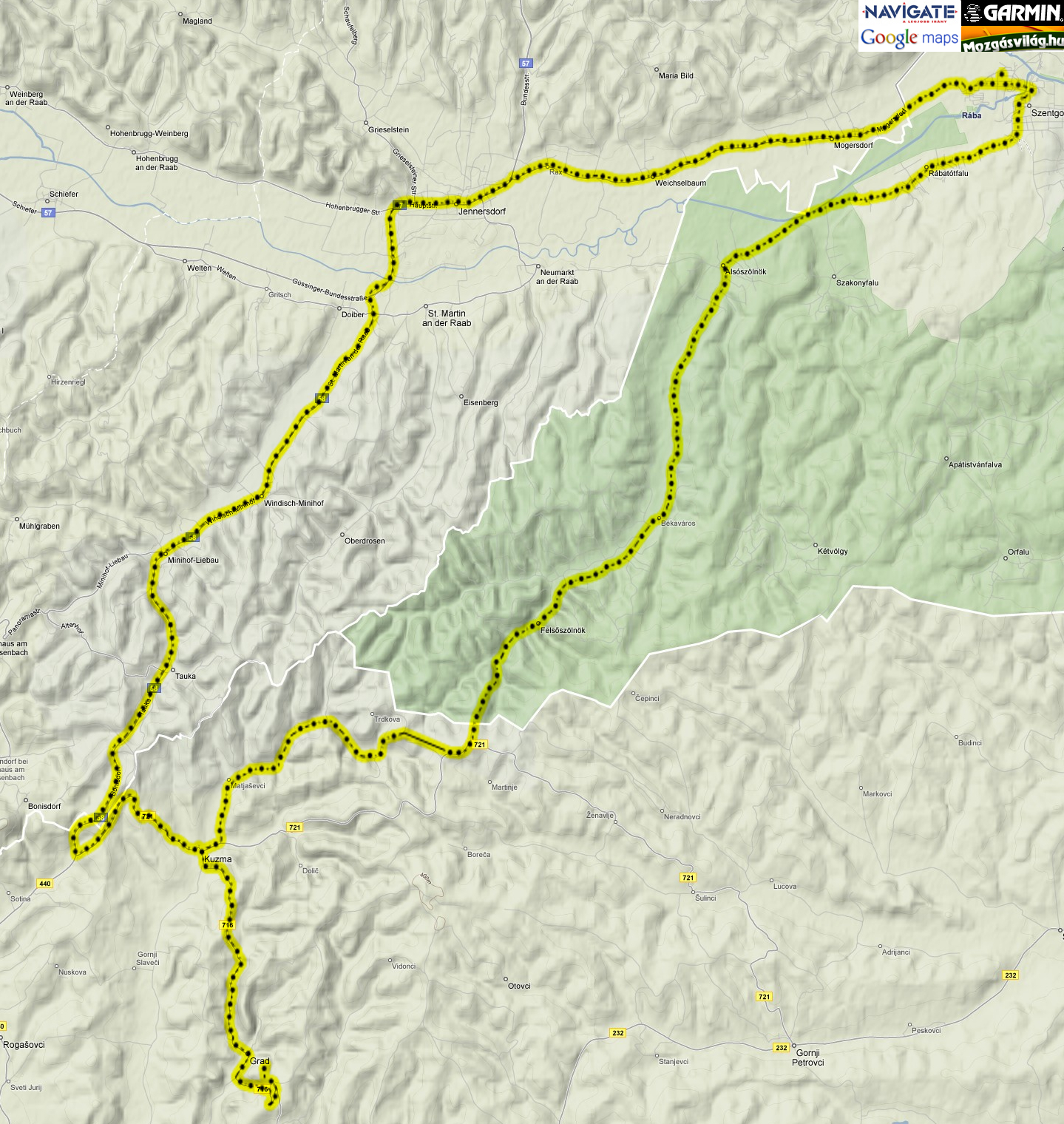 Kerékpártúra térkép
