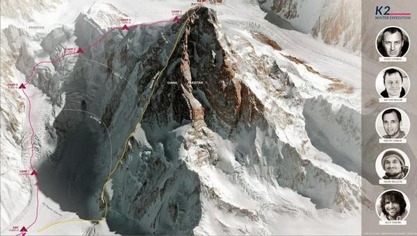 Utak a K2 északi oldalán. Bal szélen Urubko tervezett útja Forrás: Denis Urubko Facebook