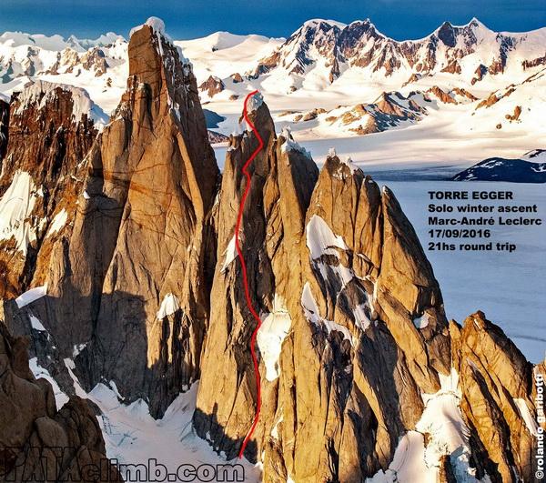 Marc Andre Leclerc szóló útvonala a Torre Eggerre Forrás: Patagonia Vertical/Rolando Garibotti
