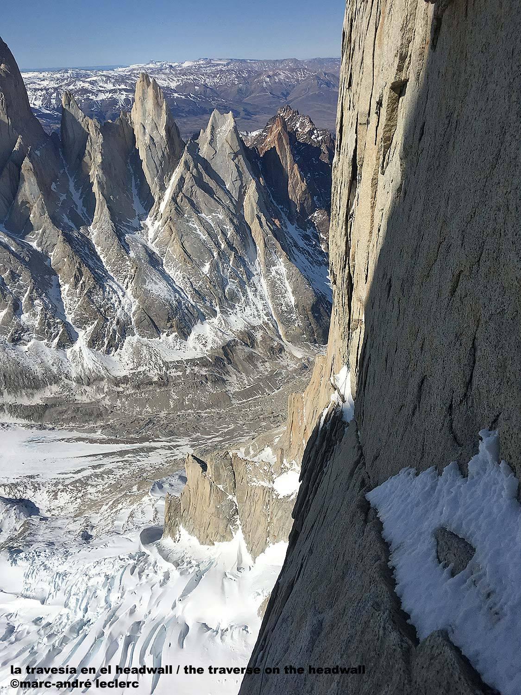 A Torre Eggeren, a rámpák előtti traverz Forrás: Patagonia Vertical/Marc Andre Leclerc