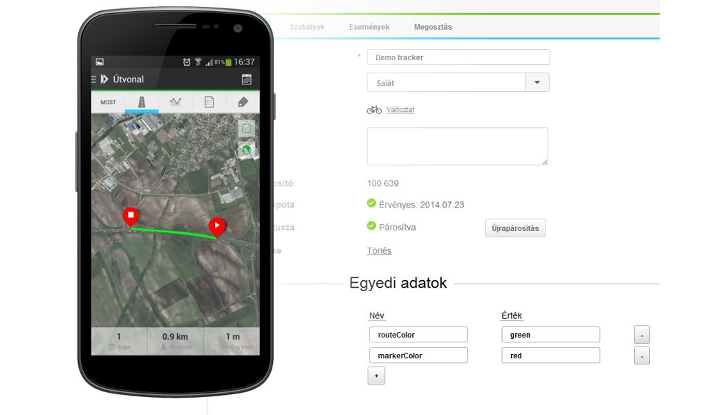 Android app Forrás: IneTrack
