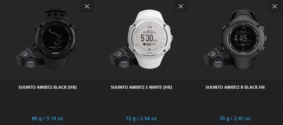 3 óra összehasonlítása Forrás: Suunto.com