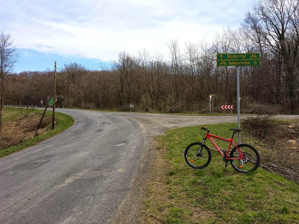 Az elágazásnál jobbra kanyarodunk a Budafai arborétum felé Forrás: www.mozgasvilag.hu