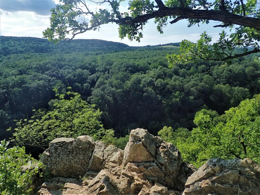 A völgy felett őrt álló Miske-szikla Forrás: Nyáry Tamás
