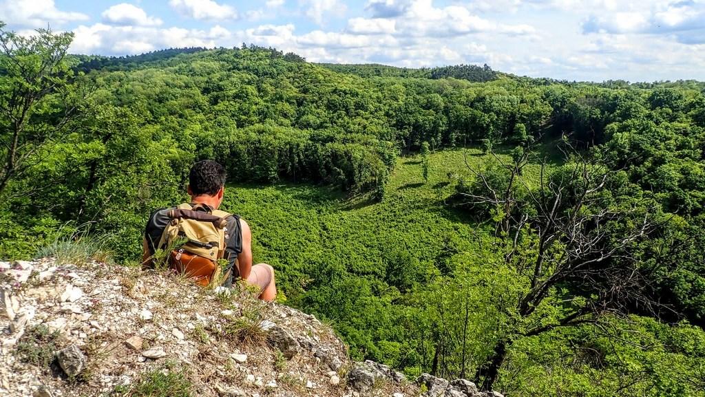 Az előbb csodált sziklás hegyoldalra felkapaszkodva visszatekintünk az ide vezető útra Forrás: Nyáry Tamás