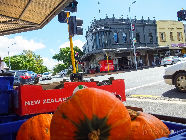 A háttérben látható Mozaik áruház kicsit gyanús, de az új-zélandi tökök meggyőznek, mégis csak jó helyen szállt le velünk a gép. Forrás: Fotozoo - Horváth Zoltán