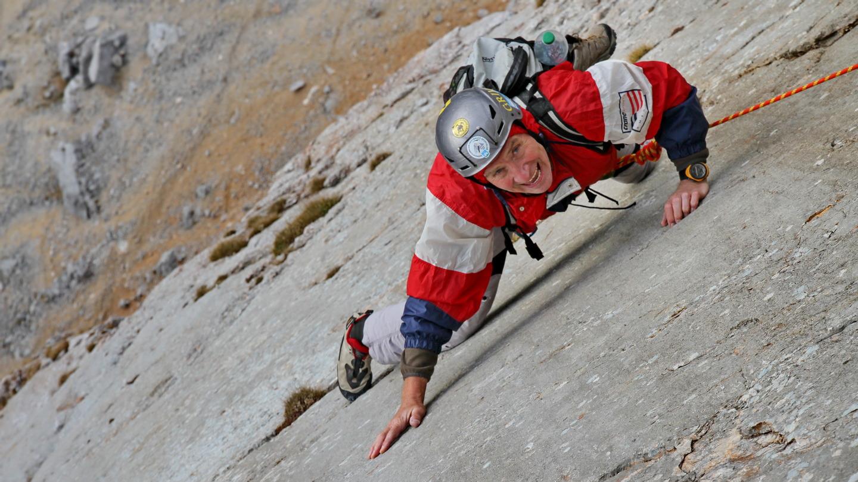 70 éves mászótárs - sziklamászás Janival (Osztrák Alpok) Forrás: Suhajda Szilárd