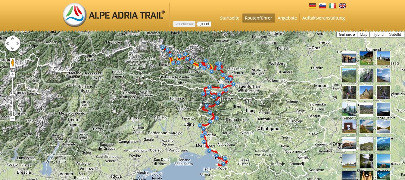 Alpe-Adria Trail túratervező
