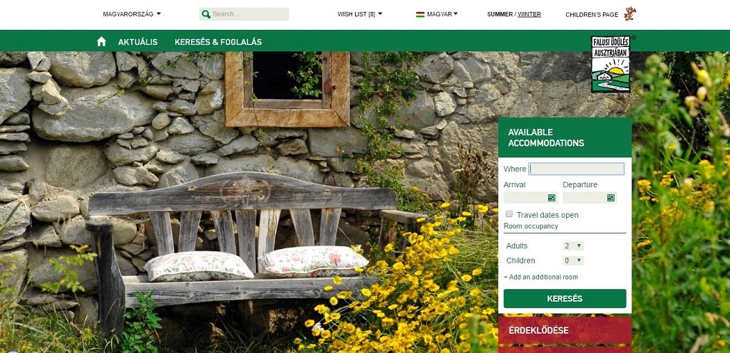 Keresőablak Forrás: www.falusiudules-ausztriaban.hu