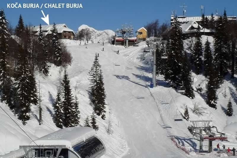 Chalet Burja a sípályáról nézve. Forrás: www.vogel.si