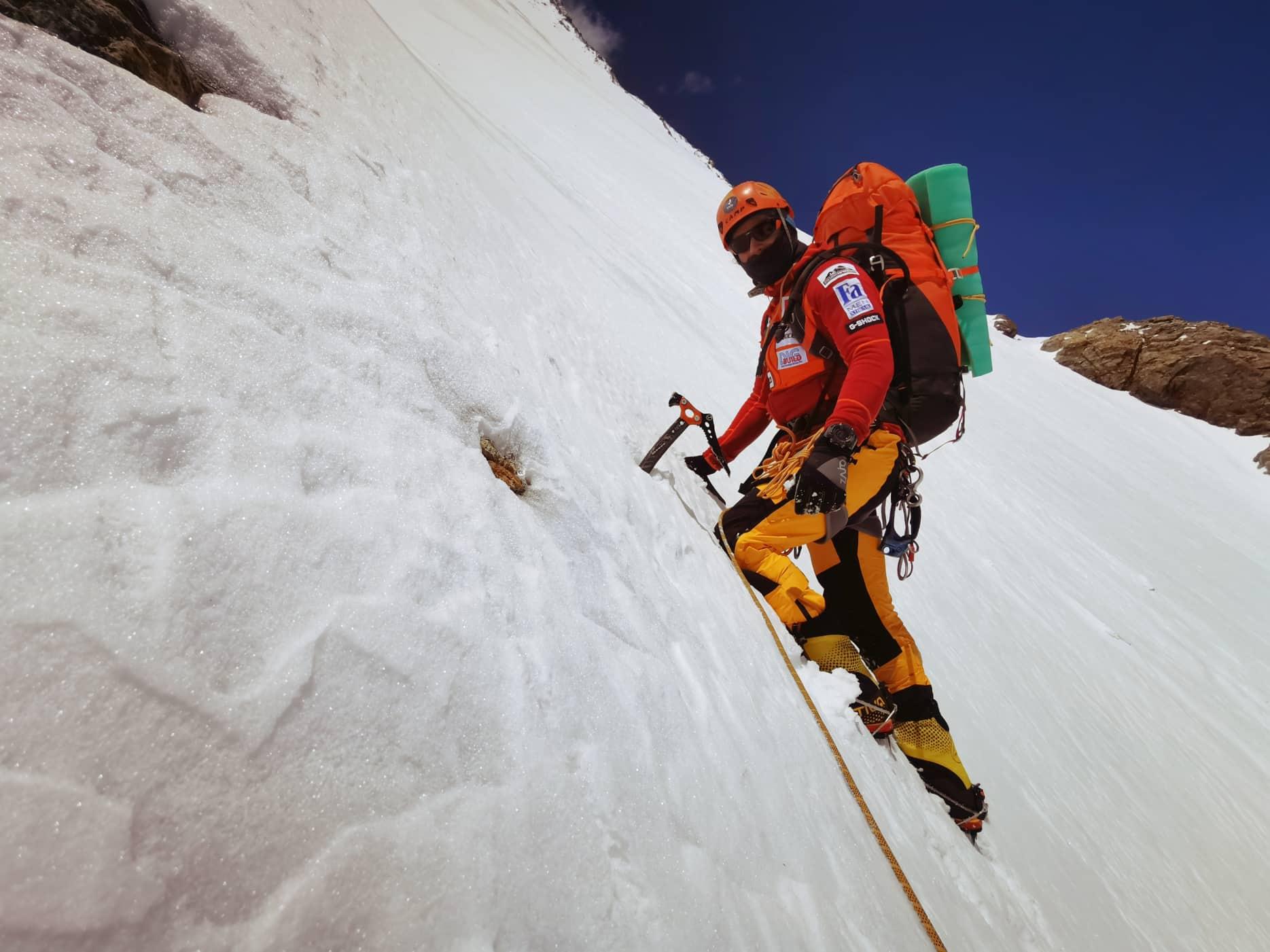Klein Dávid felfelé a K2 1-es táborába Forrás: Magyar K2 expedíció 2019