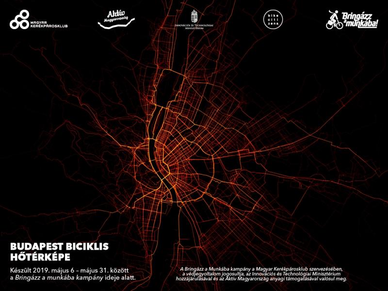 Budapest hőtérképe Forrás: Magyar Kerékpárosklub