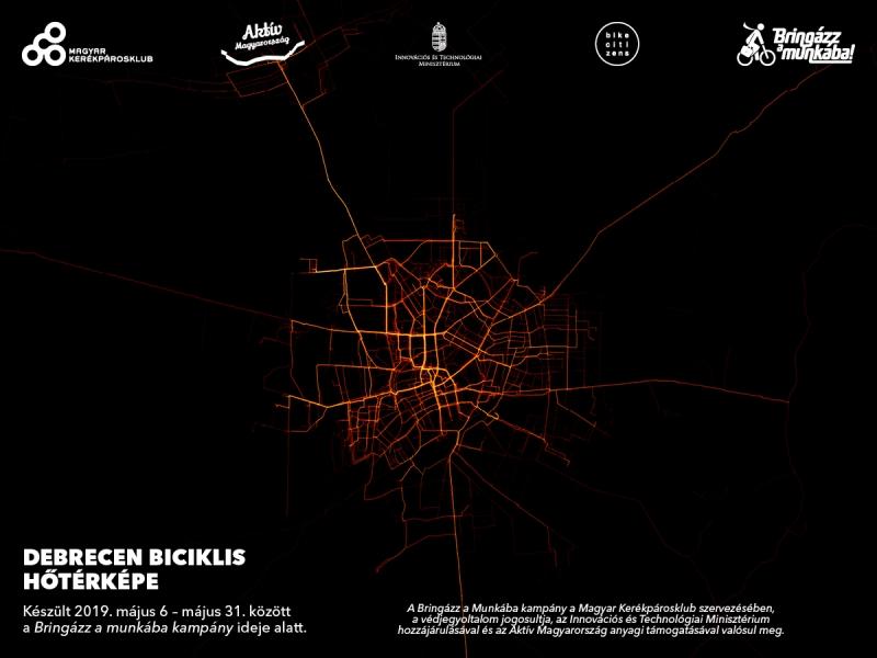 Debrecen hőtérképe Forrás: Magyar Kerékpárosklub