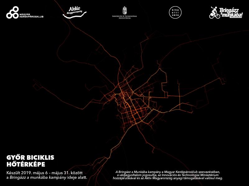 Székesfehérvár hőtérképe Forrás: Magyar Kerékpárosklub
