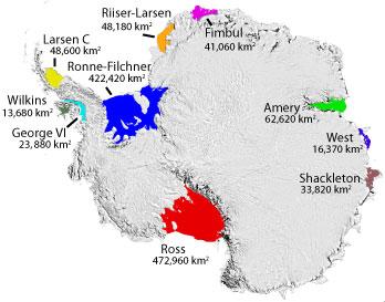 Kékkel a Filchner-Ronne-jégself, pirossal a Ross-jégself. A teljes távos expedíciók a jégselfek tenger felőli pereméről indulnak, de sokan a szárazföld felőli részt is legitimnek tartják Forrás: Wikipédia