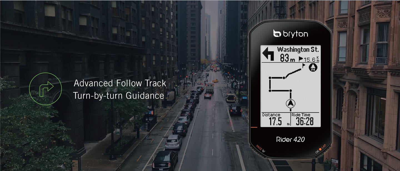 Fejlett útvonal követés, kanyarról-kanyarra navigációval Forrás: www.brytonsport.com