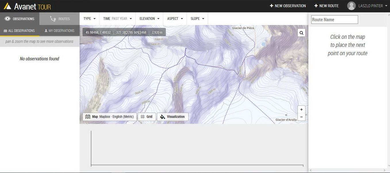 A legnépszerűbb alpesi sítúra útvonal, az Haute Route középső szakasza, a Pigne d'Arolla és a Cabane de Vignette (a nevek csak közelebbi nézetben kerülnek a térképre) Forrás: AvaNet screenshot