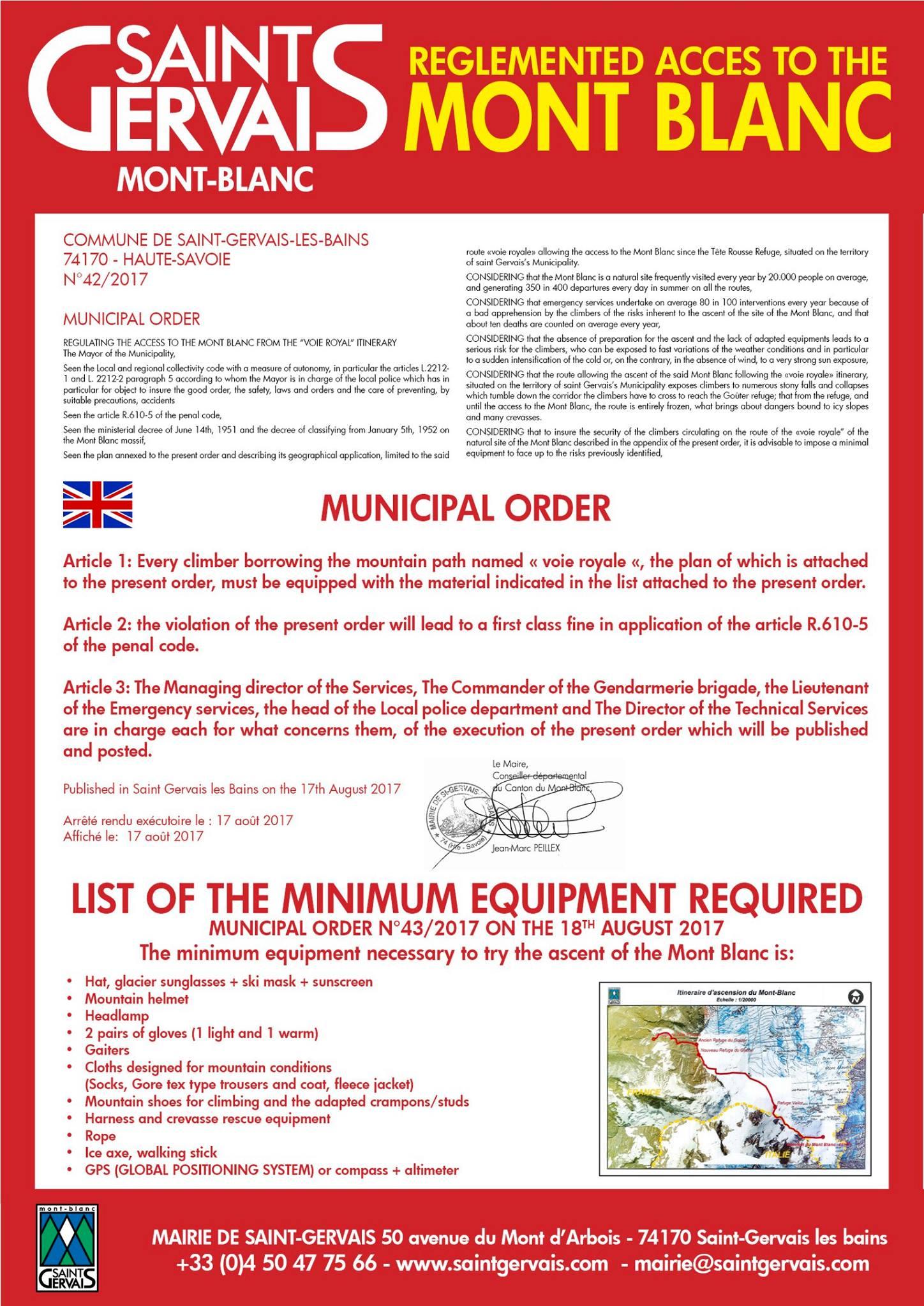 A rendelet szövege angolul Forrás: St. Gervais les Bains Facebook