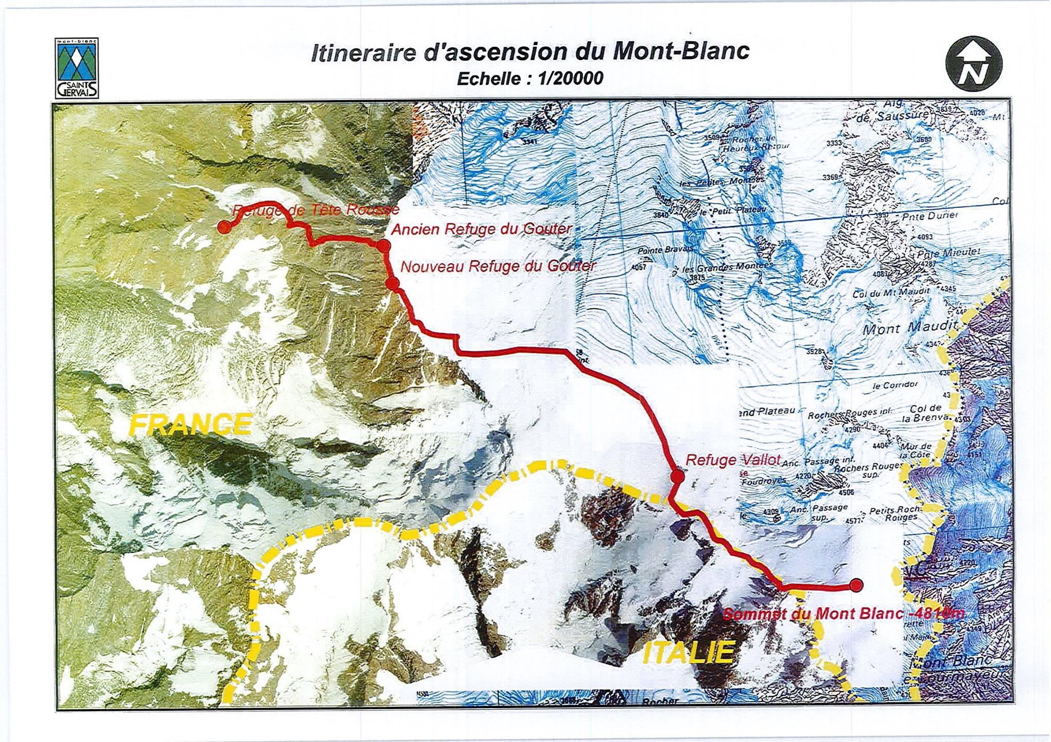 A Mont Blanc francia normál útja, a Gouter (Voie Royal). Ezen kötelező a rendeletben szereplő minimális felszerelés használata Forrás: St. Gervais les Bains Facebook