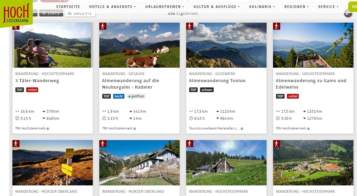 Túraútvonalak Forrás: www.hochsteiermark.at
