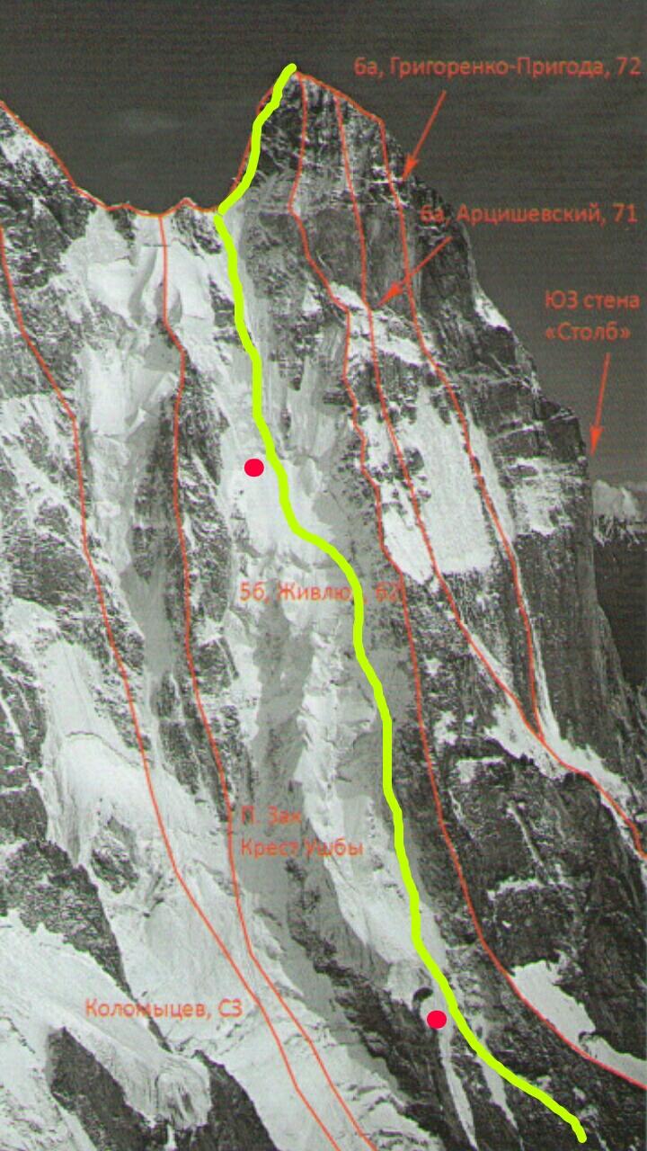 A sárga vonallal jelzett utat mászták, Denis ismeretei szerint elsőként Forrás: Denis Urubko archívum