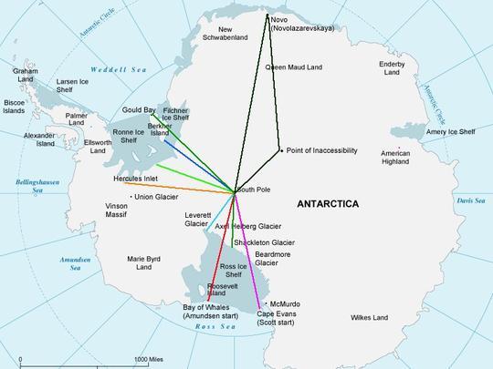 Különböző expedíxiós útvonalak sível és kite-tal az Antarktikán. A legrövidebb, világoszöld a Messner-start - Leverett-gleccser útvonal Forrás: www.explorersweb.com