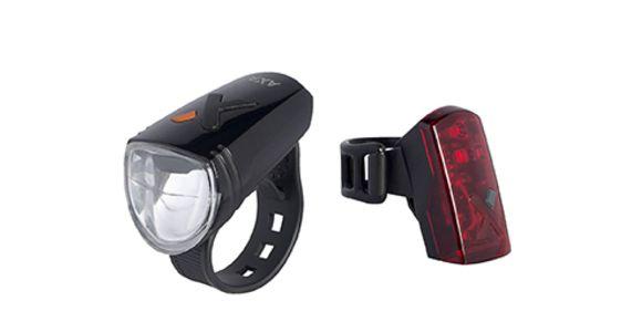 AXA Greenline 30 első és 2 LED-es hátsó tölthető lámpa szett