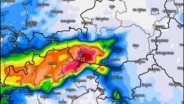Lienz környékén másfél méter friss hó hullhat Forrás: Kachelmannwetter.de