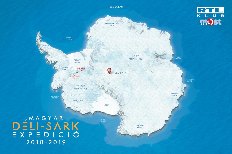 Az Antarktisz térképe, rajta a Union-gleccseri bázis és a Messner-Fuchs starthely Forrás: Magyar Déli-sark Expedíció