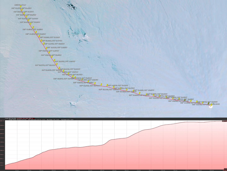 Gábor táborhelyeinek GPS-koordinátái. Minden pont egy napot jelent. Forrás: Magyar Déli-sark Expedíció