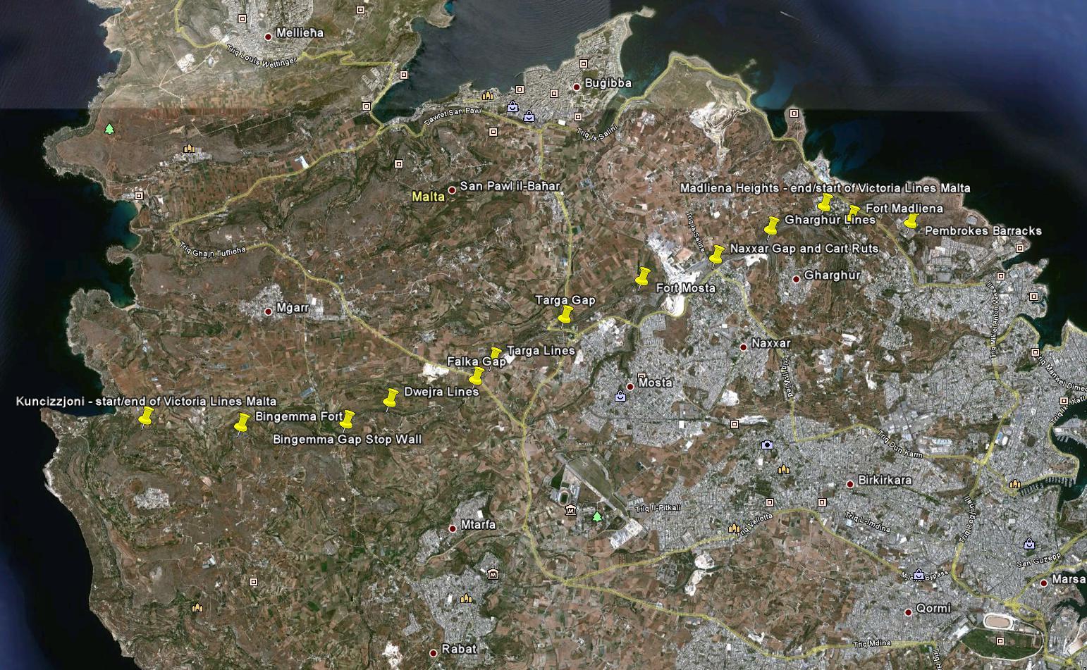 A Victoria Lines teljes hossza nyugatról keletre Forrás: Victoria Lines Malta
